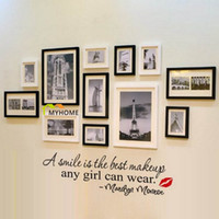 Wholesale Marilyn Monroe Quote Wall Stickers - A Simile Is the Best Makeup Any Girl Can Wear-Marilyn Monroe Lettering Wall Stickers Quotes Art Decorative Wall Decals for Home Girls Room