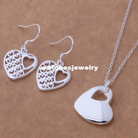 Wholesale Silver Rose Bracelet Earrings Necklace - Promotion 925 Fashion Silver Plated Jewelry sets Necklace Earrings Rose Heart 18inch Women Freeshipping Factory Direct Sale