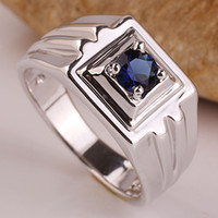 Wholesale Men Jewelry 925 Silver Piece - Assorted Order 5 Pieces   Lot Simple 925 Sterling Silver Band Ring White Gold Finish Mixed Colors & Sizes High Quality Jewelry for Men R500