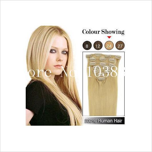 "Good 100g 18~24"" clip in human hair extensions Peruvian Hair Remy human hair 8pcs set Straight free shipping"