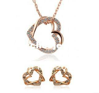 4cc829ef33c30 Fashion Loverly Cute Double Heart Necklace and Earring Jewelry Sets Crystal  Jewelry