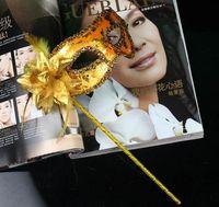 Wholesale Handheld Venetian Masquerade Masks - Venetian Party Masks Masquerade Masks Fashion Hip Pop Handheld Masks With Flower Stick 4 Colors Masks Made Of Plastic Top Quality Masks