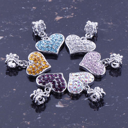 Wholesale Rhinestone Beads Fit Bracelet - SALE!!! 6 Colors Assorted Mixed 20pcs lot Crystal Rhinestone Heart Charms Big Hole European Dangle Beads Fits Snake Bracelets free shipping
