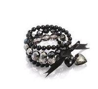 histoires de bracelet achat en gros de-Bracelet perle coeur de pêche super brillant quatre étages acrylique nacre papillon noeud noeud 10pcs / lot