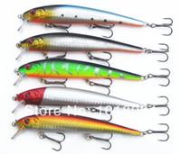 mezcla de señuelos al por mayor-Minnow Fishing señuelos / cebos de plástico duro cebos Popper 5pcs / lot 130mm / 19g Mix 5 colores trastos de pesca Cuchara 2-11 envío gratis