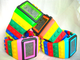 Wholesale Wholesale Auto Glass Prices - Rainbow watches Blocks Color Blending LCD Lego Watch Touch Silicone Fashion LED Iron Man Factory Price