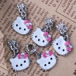 Wholesale Enamel Cat Charms - 6 COLORS! 20PCS LOT Enamel Crystal Pink Bow Cute Cat Face Shaped Charms Big Hole Dangle Beads Fits European Bracelet FREE SHIPPING