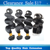 "Wholesale 5a Malaysian Weave - Clearance Sale !!!Grade 5A Malaysia Human Hair Weave 3pcs lot With 1pcs Closure 4""*4"" Virgin Hair Body Wave Extension With Lace Closure"