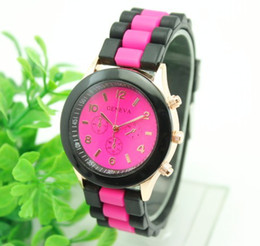 Wholesale New Shadow Style Geneva Watch - 2015 new double color black band Shadow style geneva watch new rubber candy jelly fashion unisex silicone quartz watches