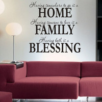 Wholesale Home Family Blessing Wall Decal - Free Shipping Home Family Blessing Wall Quote Sticker Decals Removable Art Mural Home Decor