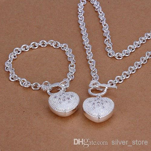 fashion Insets heart spoon 925 sterling silver jewelry sets LS-08.women's 925 silver plated neckace bracelet set.support Wholesale, retail,