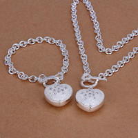 Wholesale Spoon Crystal - fashion Insets heart spoon 925 sterling silver jewelry sets LS-08.women's 925 silver plated neckace bracelet set.support Wholesale, retail,