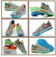 Wholesale Kevin Durant Orange Trainers Low Cut - Cheap KD Basketball Shoes KD 8 VI What the Sports Shoes Basket Ball Boots Mens Trainer Kevin Durant VI 9 Athletics Footwear Sneakers