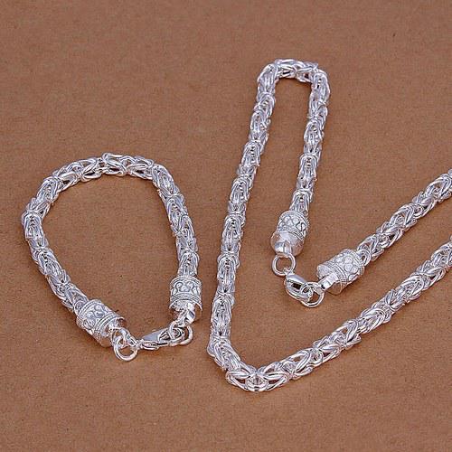 الحنفية جديدة تناسب الرجل 925 مجموعات والفضة والمجوهرات نمط LS-10.man 925 الفضة مطلي neckace سوار set.support تجارة الجملة والتجزئة،