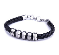 Wholesale Multiple Chain Bracelet - Men's Jewelry Multiple Styles Leather Braided Titanium Stainless Steel Bracelet With Lobster Clasp Mix Wholesale