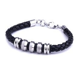 Wholesale Titanium Braid Bracelet - Men's Jewelry Multiple Styles Leather Braided Titanium Stainless Steel Bracelet With Lobster Clasp Mix Wholesale
