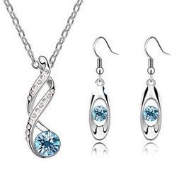 Wholesale Earring Korean Mix - Fashion 18K white gold plated austrian crystal water exquisite korean popular alloy necklace earrings women Jewelry Sets