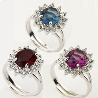 Wholesale Swarovski Crystal Ring Blue - Swarovski crystal wedding Ring,18k gold plated simulated gemstone finger rings ,blue red purple color choose 2013 women gold filled jewelry
