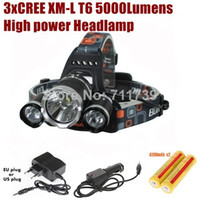 yüksek güçlü far şarj cihazı toptan satış-AloneFire HP03 yüksek güç 3xCREE XM-L T6 LED 5000 Lümen 4 Mod LED Far Far + Şarj / Araç şarj / 2x18650 pil