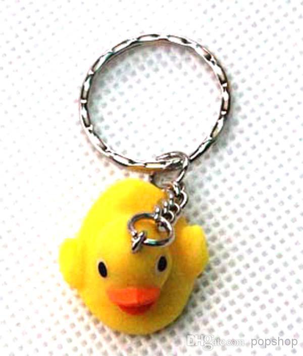 도매 의 3D 노란색 고무 오리 열쇠 고리 금속 열쇠 고리 파티 선물 새로운 무료 배송