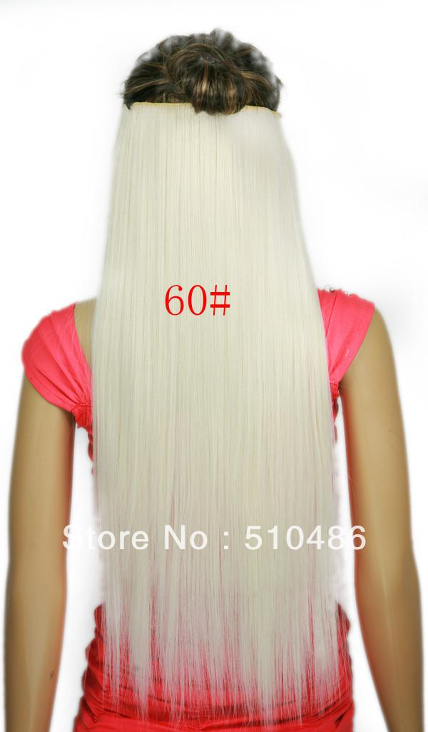 2018 24inch 60cm 666 White Clip In On Hair Extensions Ladies Long