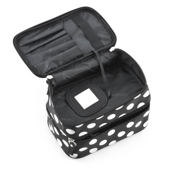 Dot Folding Dubbelskiktad dragkedja Kosmetisk Fodral Polyester Make Up Storage Organizer Box Container Bag Makeup