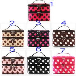 nylon makeup box 2019 - Dot Folding Double Layered Zipper Cosmetic Case Polyester Make up Storage Organizer Box Container Bag makeup cheap nylon