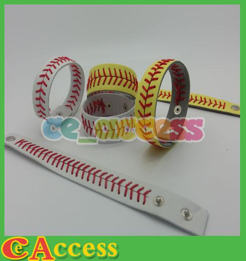 Discount cheapest real leather yellow fastpitch softball seam bracelets with
