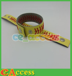 $enCountryForm.capitalKeyWord NZ - softball hotsale season usa hotsale styles red stitching yellow softball leather bracelet