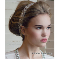 Wholesale Two Crystal Headbands - Free Shipping Braid Crystal Rhinestone Bridal Headband Bridal Accessory Two Row Prom Hair Accessory Tie Backs