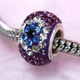 Wholesale 925 Sterling Silver Czech Crystal - 10psc Ture 925 Sterling Silver Czech Crystal Findings Magic Eye Of Purple European Charm Big Hole Beads Fit Bracelets 8x14mm