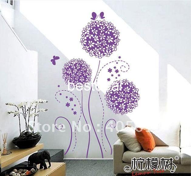 xy8083 purple flower wall sticker 90x125cm transparent removable