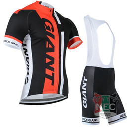 Wholesale Cycling Jersey Suit Giant - Cheap Men's Short Cycling Suit GIANT Bike jersey + Bib Shorts with Gel pad Short Sleeve Bicycle wear maillot
