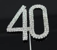 "Wholesale Wedding Cake Toppers Diamante Monogram - Factory Price Letter ""40"" Double Rows Rhinestone Diamante Monogram Cake Toppers For Wedding Decoration 1pcs"