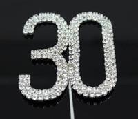 "Wholesale Wedding Cake Toppers Diamante Monogram - Factory Price Letter ""30"" Double Rows Rhinestone Diamante Monogram Cake Toppers For Wedding Decoration 1pcs"