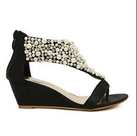 Wholesale Boho Wedges - Bohemian Boho Wedges Sandals Black Gold Color Beads High Quality 1prs Lot Free Shipping 0504S