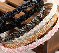 Wholesale hair style korean party online - Mix color beads headbands handmade hair hoop Korean style boutique adult Hair Accessories model no BA78