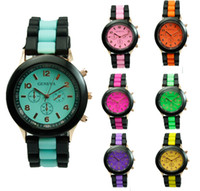 Wholesale Silicone Watches Mint Color - Shadow Geneva Silicone Watch Ladies brand jelly watch black double Color strip rose gold case quartz watch for women men mint green