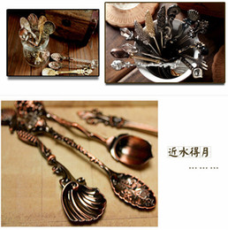 Wholesale Vintage Ice Cream Spoons - 2014 New Vintage style royal fashion carved flower bar and teatime ice cream spoon coffee scoops