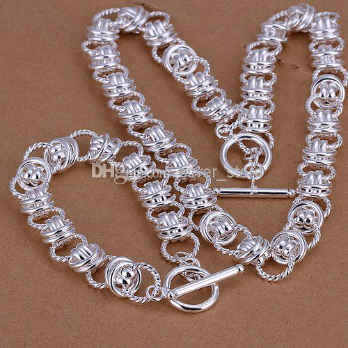 Dubbel cirklar Tunga 925 Sterling Silver Smycken Satser LS-17.Fashion 925 Silverpläterad Halsace Armband Set.Support Partihandel, Retail,