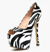 Wholesale Multi Shoes - Free shipping Ladies leather 16cm high heel ZEBRA stripes 5CM Platform sandals Dress Shoes peep-toe wedding size 34-39 Multi H62