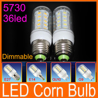 Wholesale Led Bulb 11w Free Shipping - Factory direct sale Dimmable SMD 5730 led corn bulb lamp 11W 36 LED E27 E14 G9 GU10 base Warm white  white led lighting 1020LM free shipping