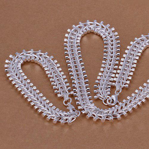 Set di gioielli in argento sterling in argento sterling a forma di fishbone così pesante LS-21.Fashion 925 Braccialetto in argento placcato argento Set.Supporto all'ingrosso, al dettaglio