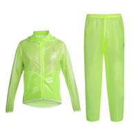 Cycling jacket waterproof thin France-WOLFBIKE Sports Cyclistes Jersey plein air Vélo Waterproof Riding Jacket + pantalon ensemble ultra-mince ultra-léger Imperméable Hommes Femme Suit libèrent le bateau