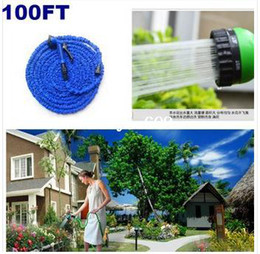 Wholesale Hose Valves - 2014 free shipping Garden hose 100ft with expandable blue and green water hose + gun high quality WATER GARDEN Pipe Water valve