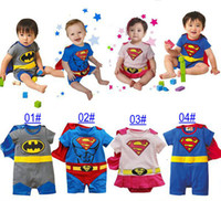 Wholesale Super Man Rompers - 2016 New Baby boys super hero rompers Super man style rompers Summer short sleeve one piece 4 designs jumpsuit bodysuit toddler clothing 4pc