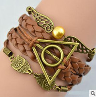 Wholesale Harry Potter Leather Bracelets - Retro Knitted Bracelets Harry Potter Deathly Hallows Wing Multi Layer Mix Color 60PCS Lot Free Shipping 0519B8