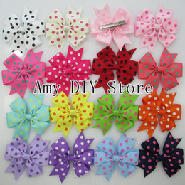 Wholesale Hair Claw Clip Styles - Free shipping!new style 40pcs lot polka dot ribbon hair bows WITH clip, children Boutique hairbows baby girls hair accessories HJ025+4.5cm