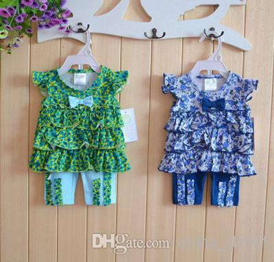2 pcs set baby girls summer tops Pant outfits shirt 12 sets/lot