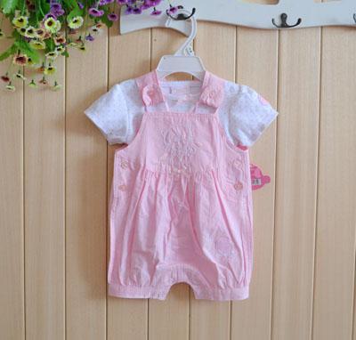 2015 baby summer overalls tops set short Suits Romper Pant Bodysuits jumpersuit outfits Pants 12sets/lot